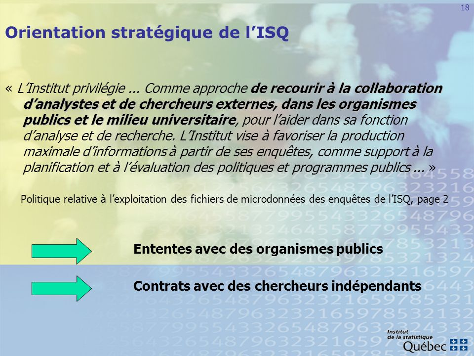Orientation stratégique de l'ISQ