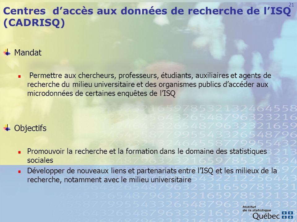 Centres d'accès aux données de recherche de l'ISQ (CADRISQ)
