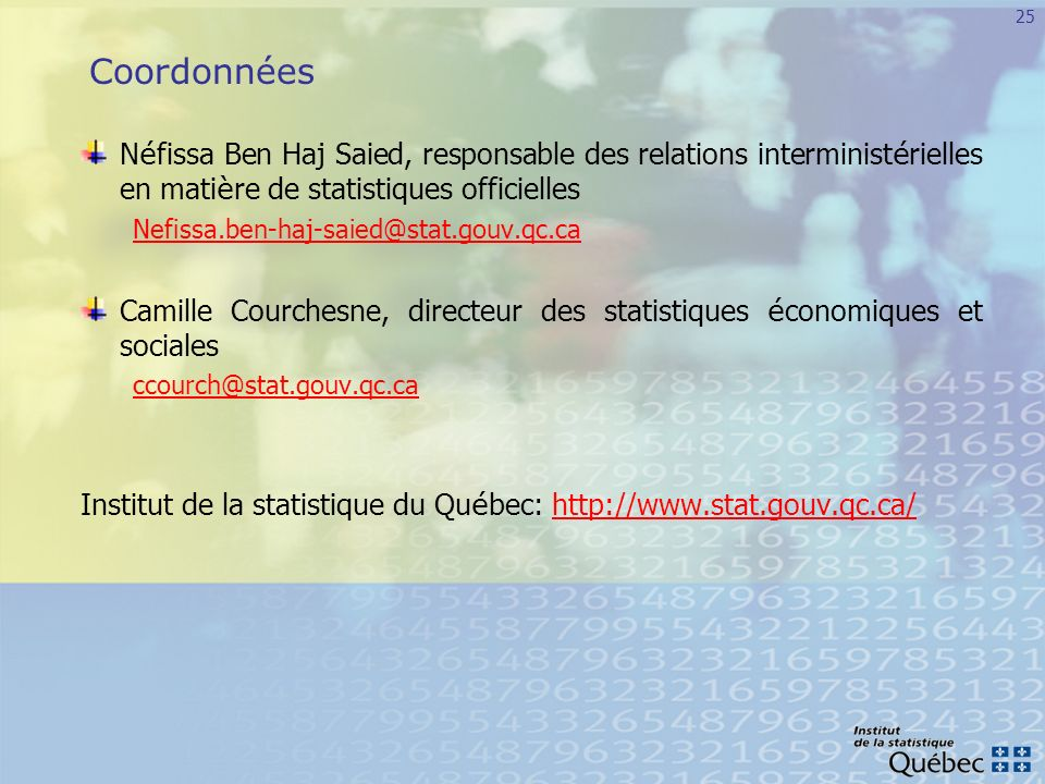 Coordonnées Néfissa Ben Haj Saied, responsable des relations interministérielles en matière de statistiques officielles.
