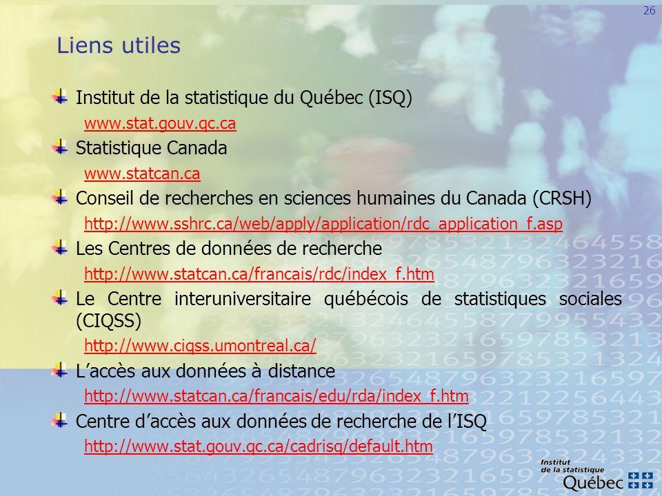 Liens utiles Institut de la statistique du Québec (ISQ)