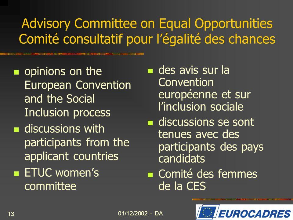 Advisory Committee on Equal Opportunities Comité consultatif pour l'égalité des chances
