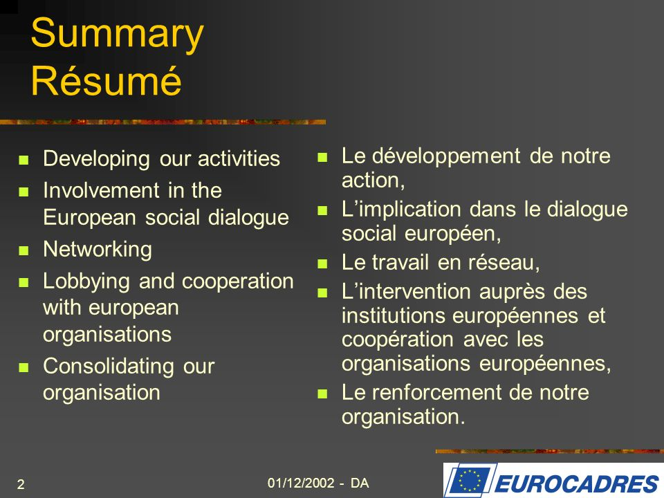 Summary Résumé Developing our activities