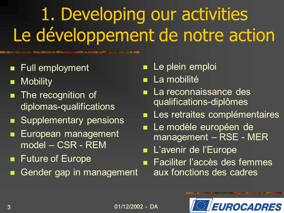 1. Developing our activities Le développement de notre action