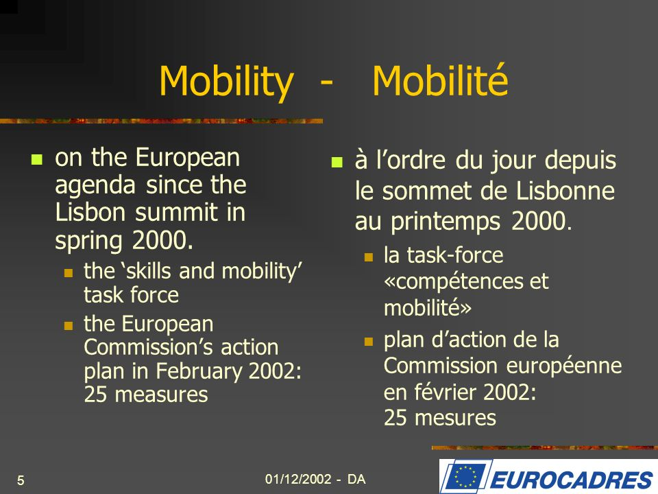 Mobility - Mobilité on the European agenda since the Lisbon summit in spring the 'skills and mobility' task force.