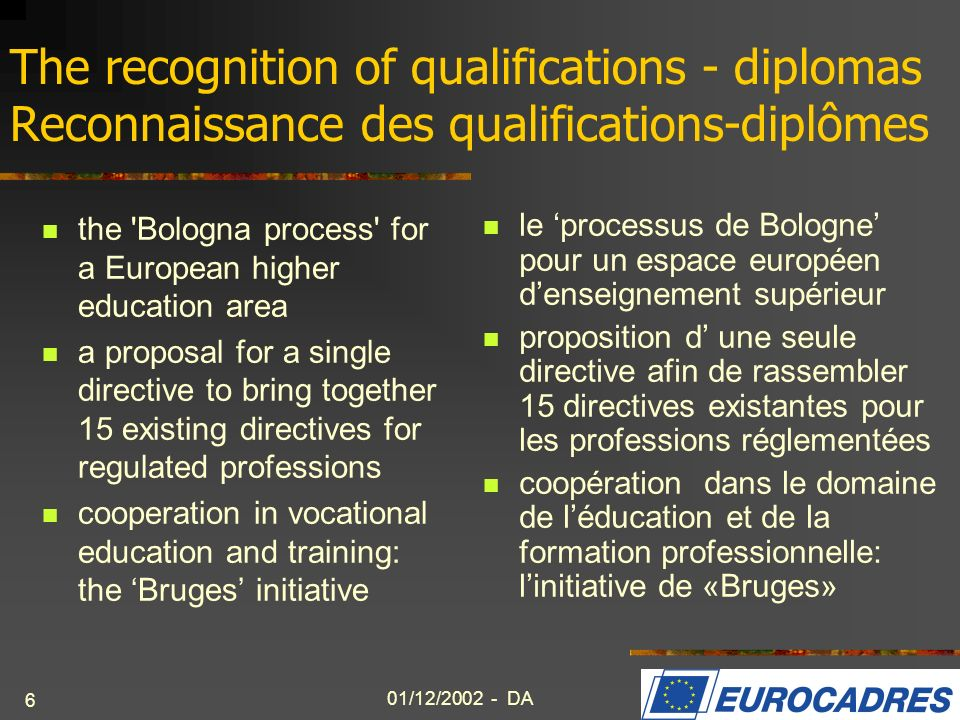 The recognition of qualifications - diplomas Reconnaissance des qualifications-diplômes