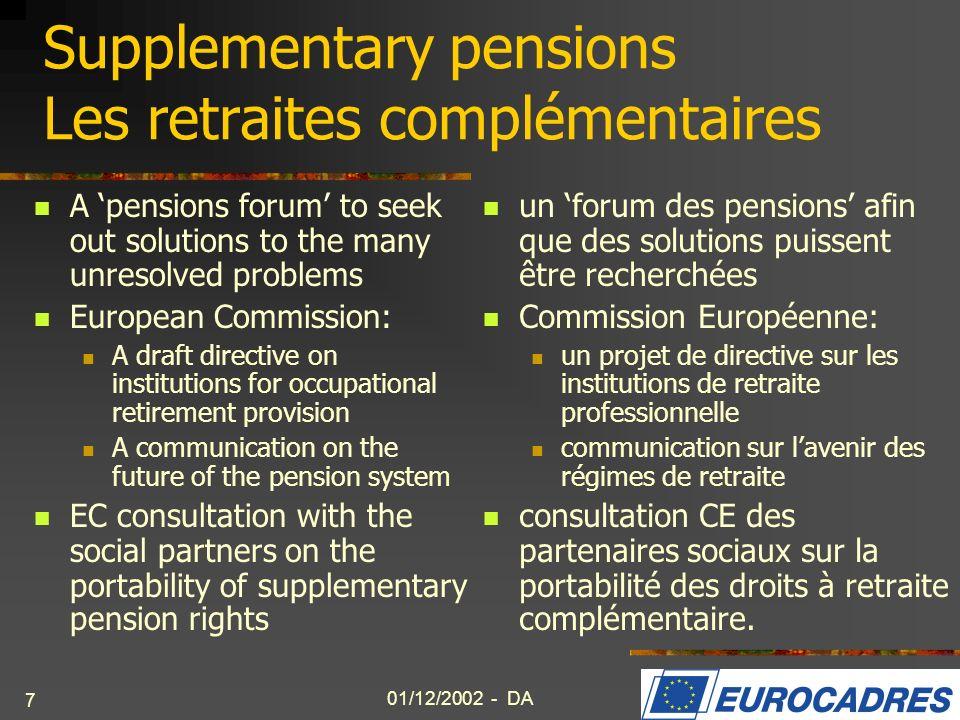 Supplementary pensions Les retraites complémentaires