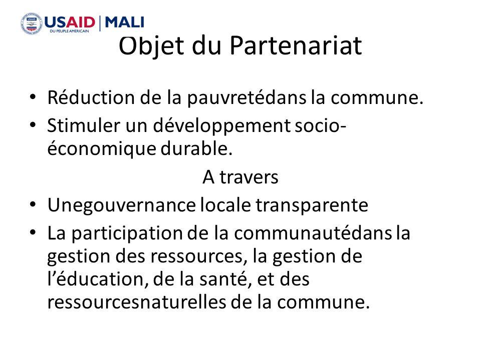 Objet du Partenariat Réduction de la pauvretédans la commune.