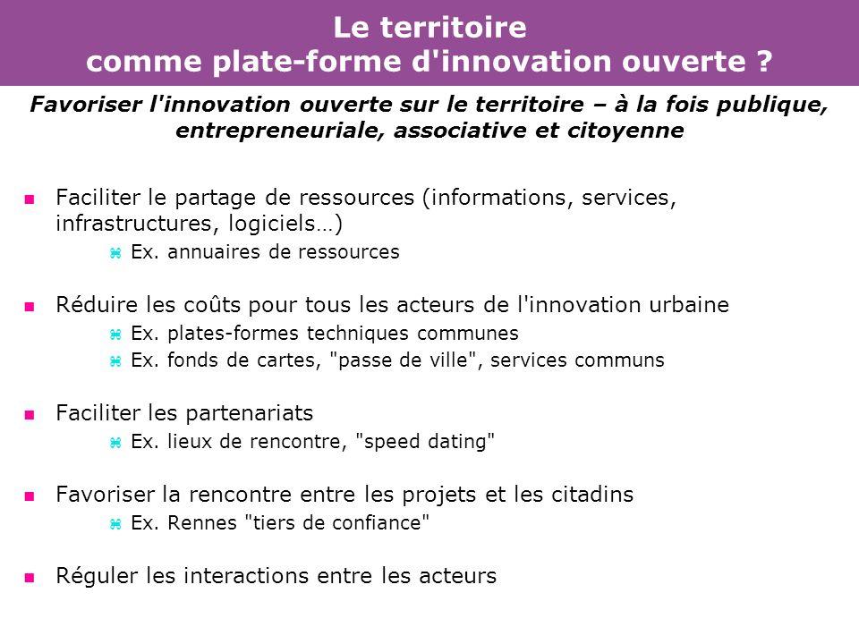 Le territoire comme plate-forme d innovation ouverte