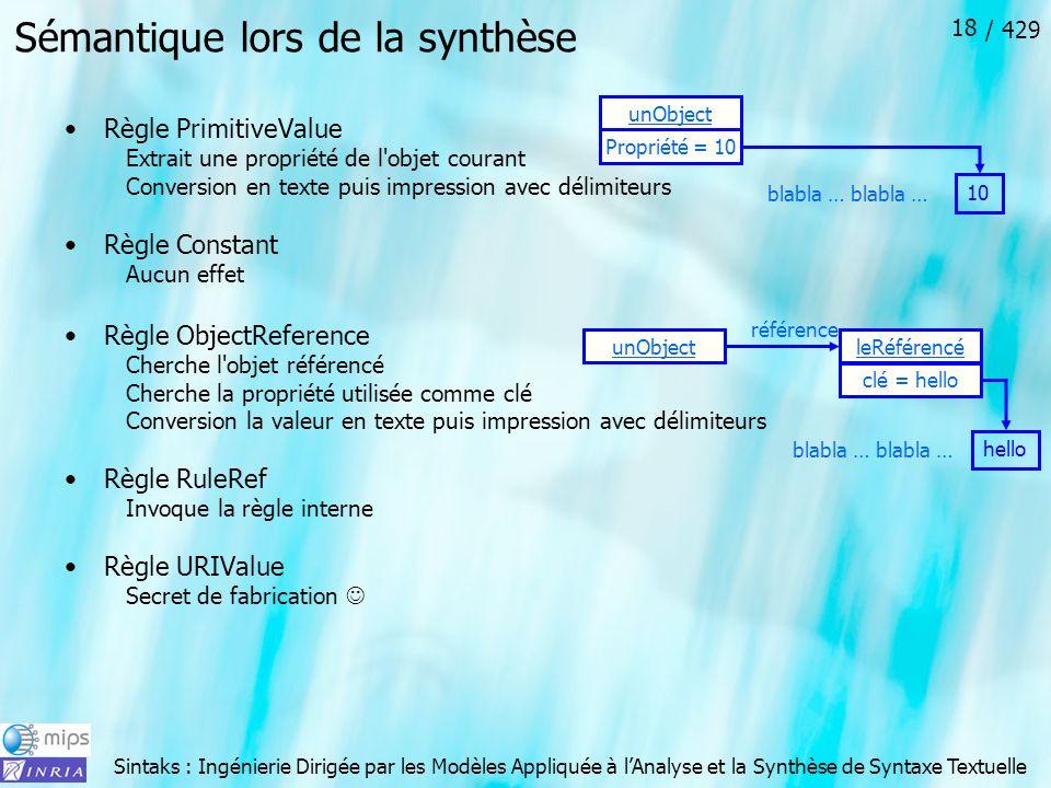 Sémantique lors de la synthèse