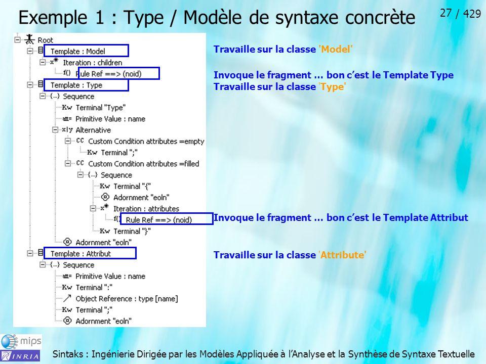 Exemple 1 : Type / Modèle de syntaxe concrète