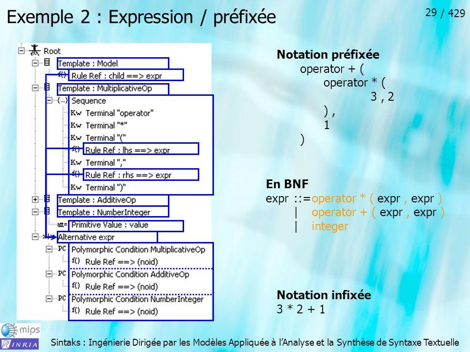 Exemple 2 : Expression / préfixée