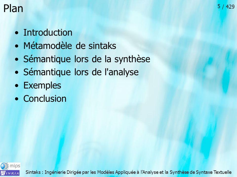 Plan Introduction Métamodèle de sintaks Sémantique lors de la synthèse