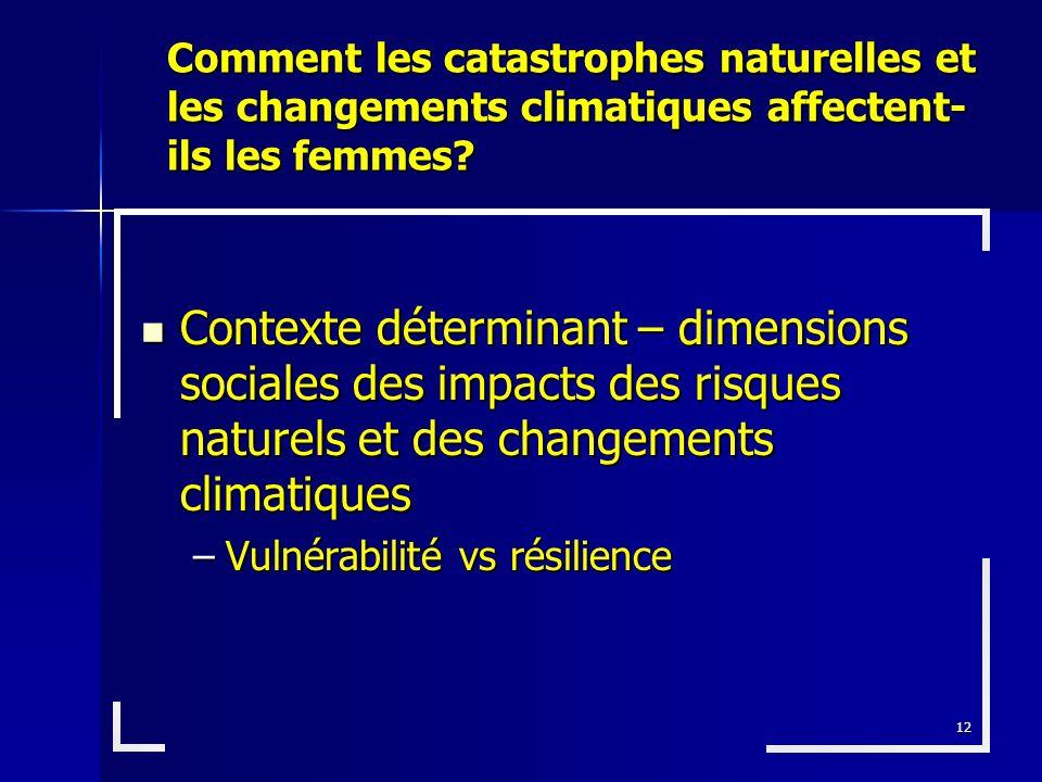 Comment les catastrophes naturelles et les changements climatiques affectent-ils les femmes