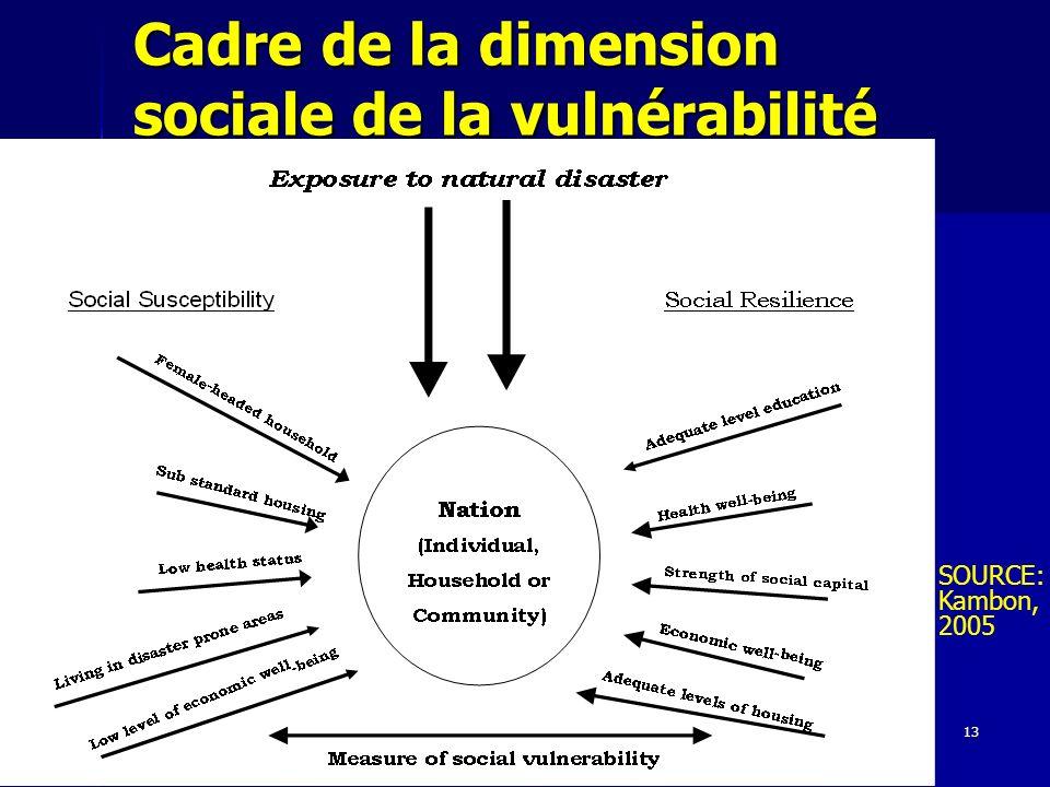 Cadre de la dimension sociale de la vulnérabilité
