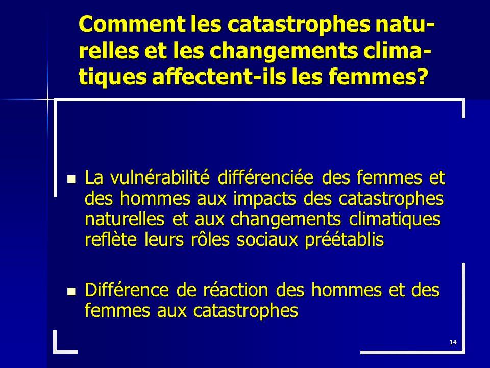 Comment les catastrophes natu-relles et les changements clima-tiques affectent-ils les femmes