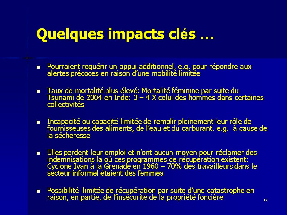 Quelques impacts clés …