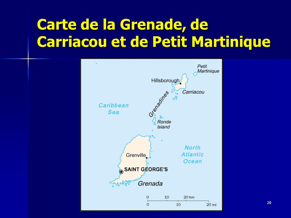 Carte de la Grenade, de Carriacou et de Petit Martinique