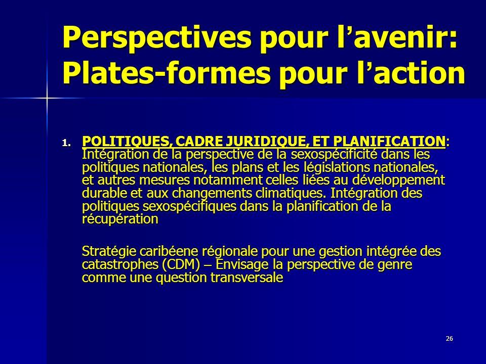 Perspectives pour l'avenir: Plates-formes pour l'action