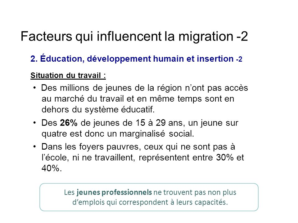 Facteurs qui influencent la migration -2