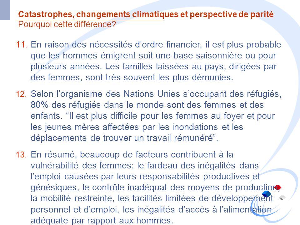 Catastrophes, changements climatiques et perspective de parité