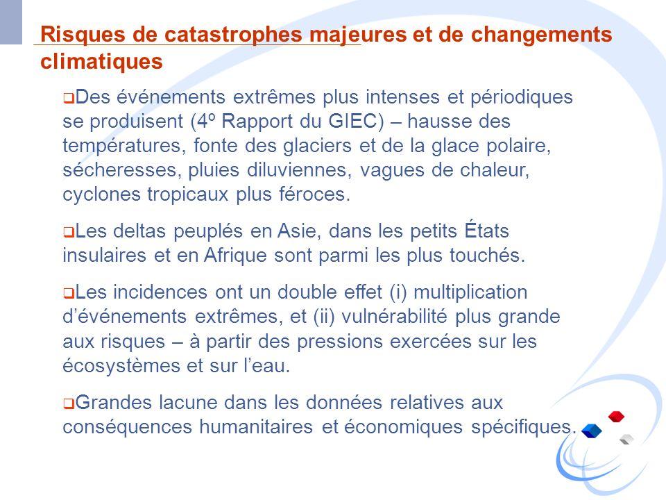 Risques de catastrophes majeures et de changements climatiques