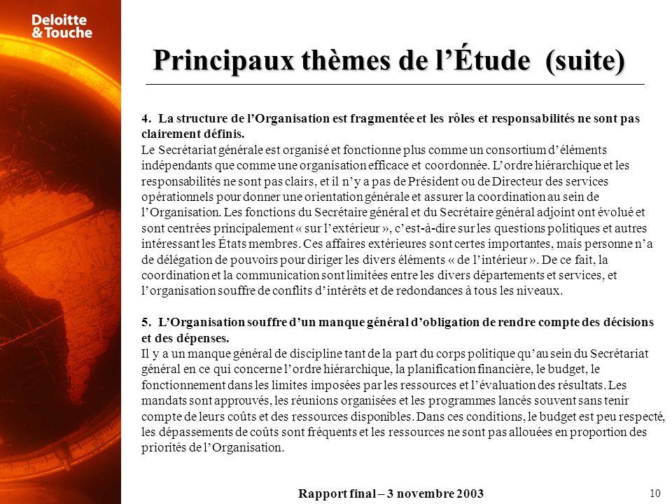 Principaux thèmes de l'Étude (suite)