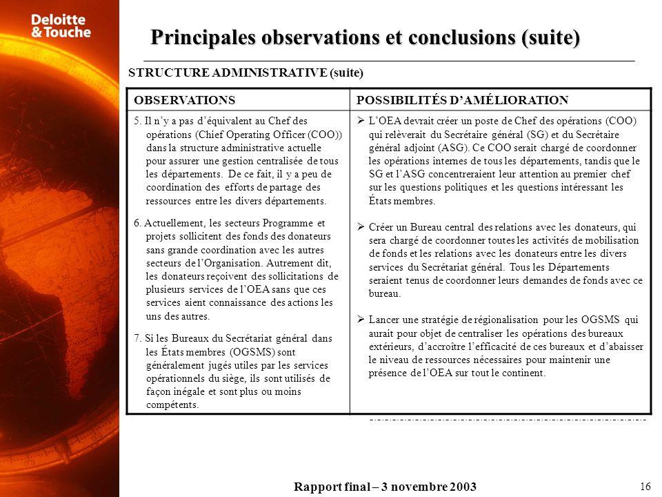 Principales observations et conclusions (suite)