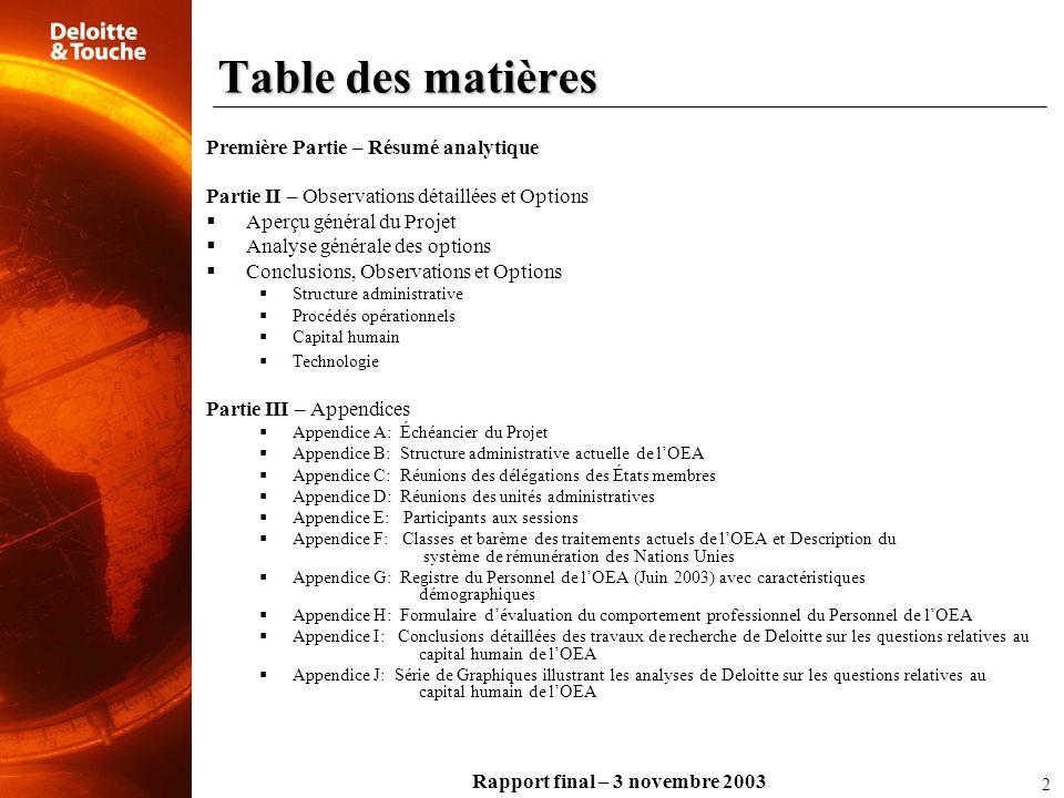 Rapport final – 3 novembre 2003