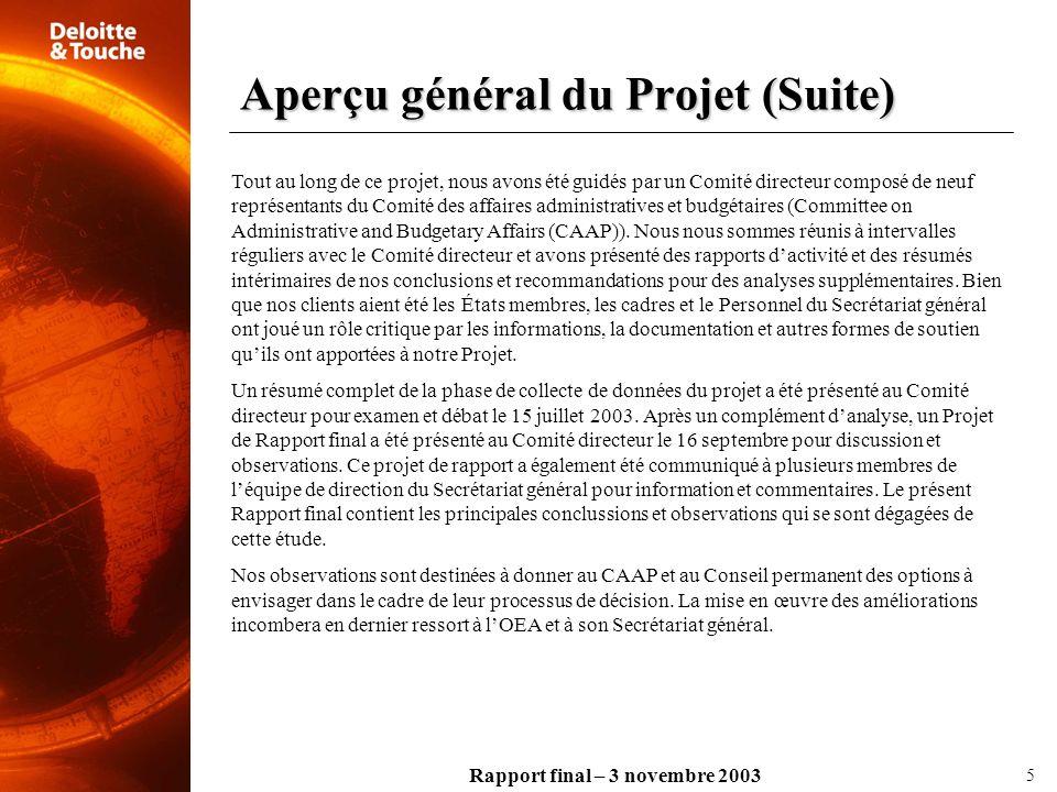 Aperçu général du Projet (Suite)