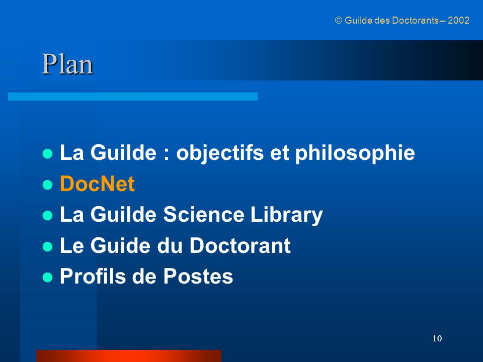 Plan La Guilde : objectifs et philosophie DocNet