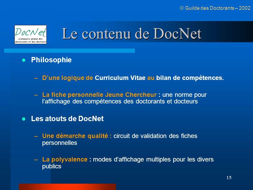 Le contenu de DocNet Philosophie Les atouts de DocNet