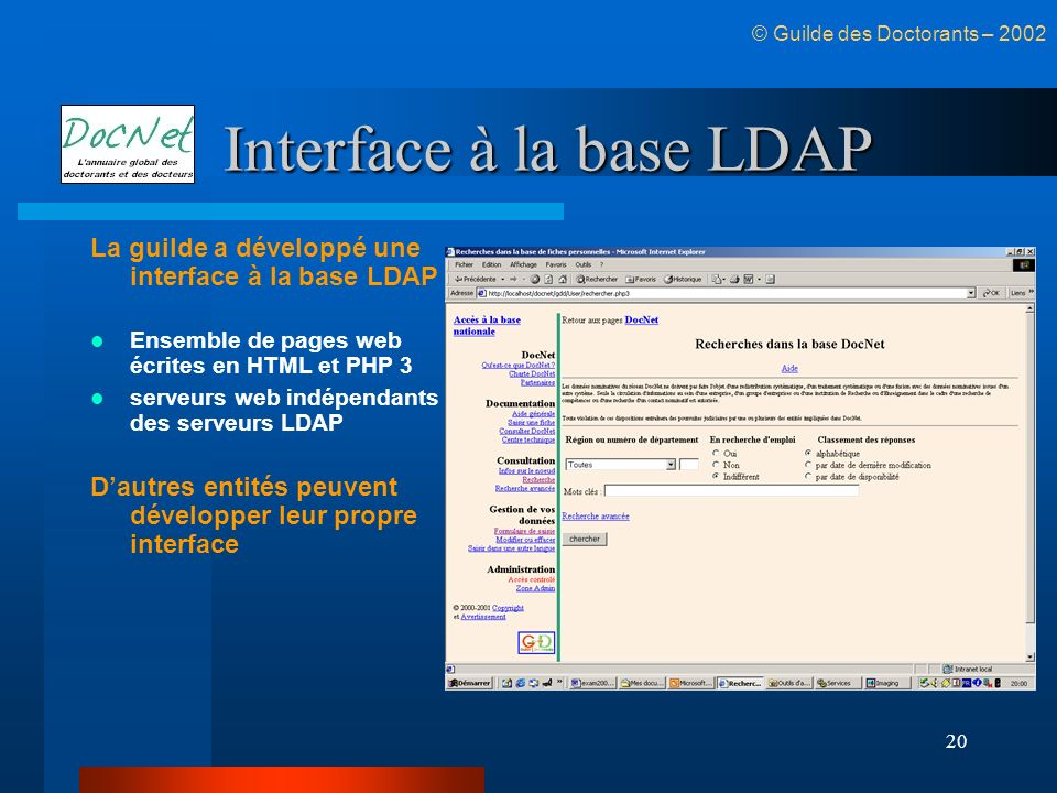 Interface à la base LDAP