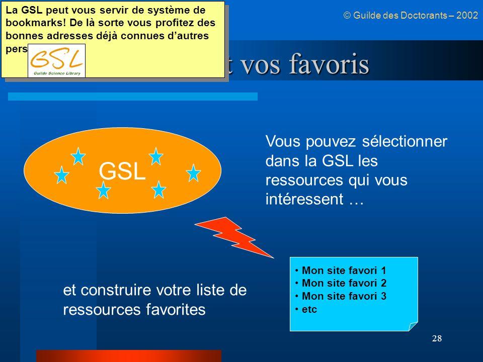 La GSL et vos favoris GSL