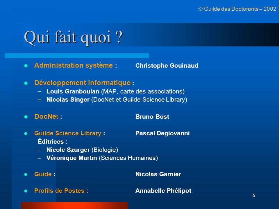 Qui fait quoi Administration système : Christophe Gouinaud