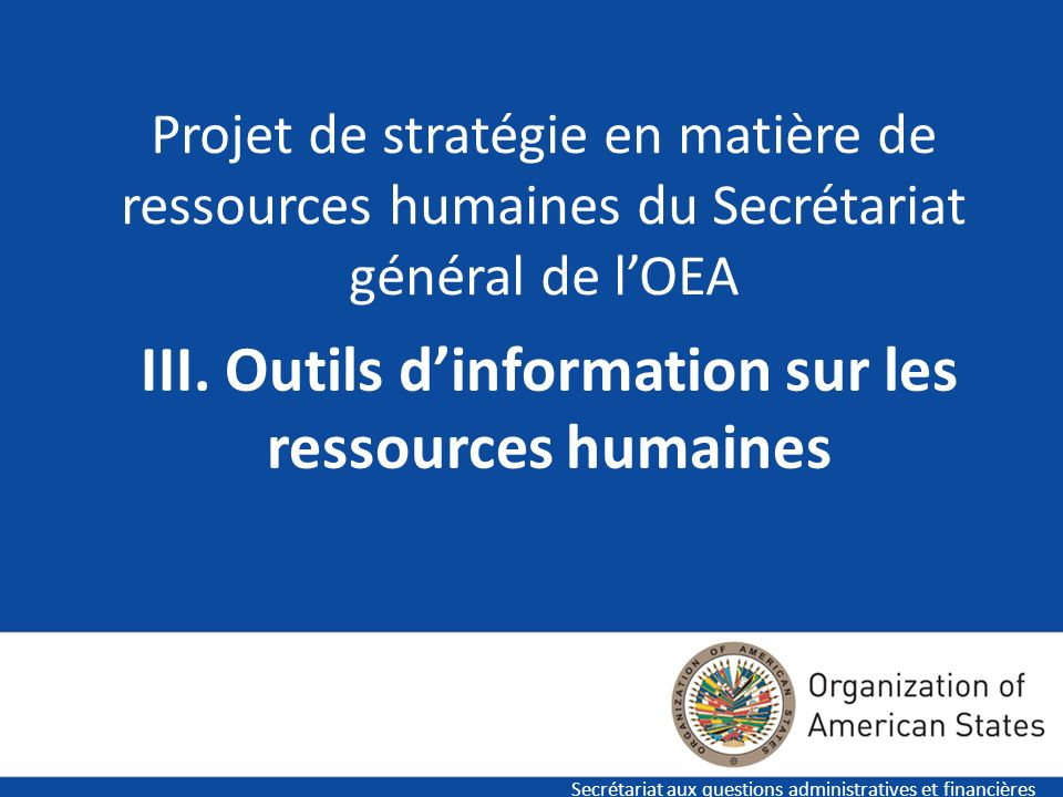 III. Outils d'information sur les ressources humaines