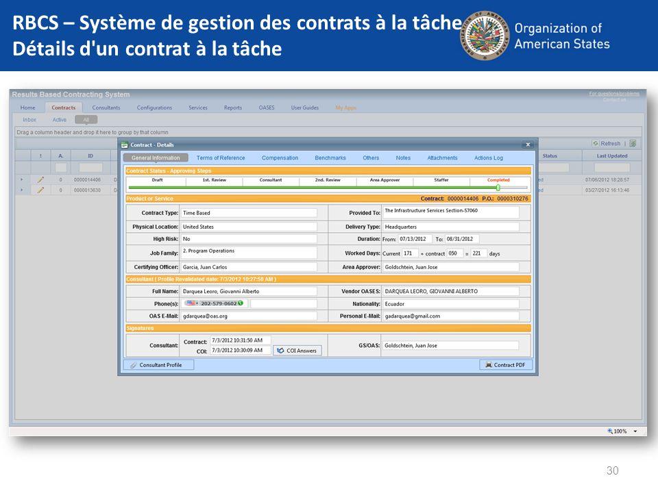 RBCS – Système de gestion des contrats à la tâche