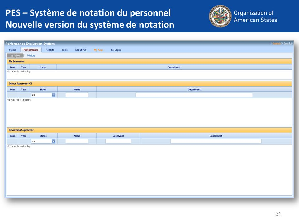 PES – Système de notation du personnel