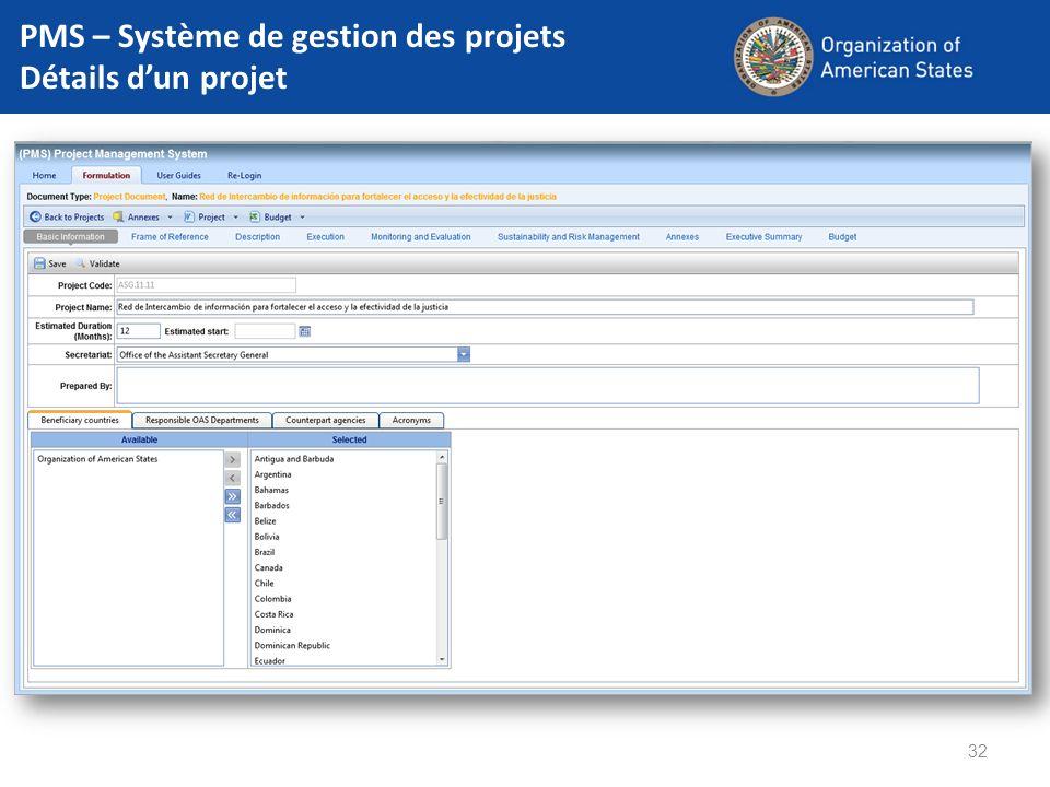PMS – Système de gestion des projets Détails d'un projet