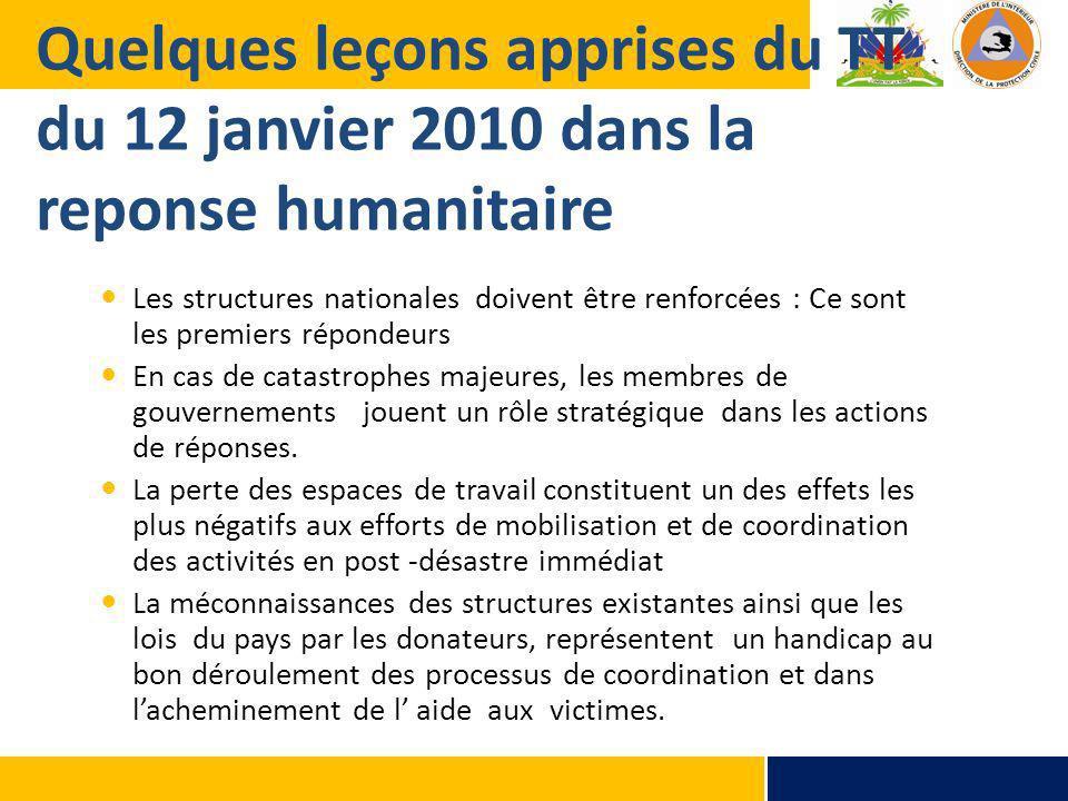 Quelques leçons apprises du TT du 12 janvier 2010 dans la reponse humanitaire
