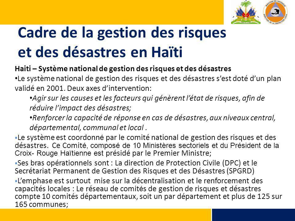 Cadre de la gestion des risques et des désastres en Haïti