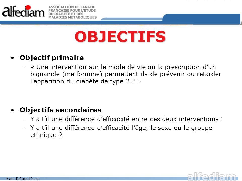 OBJECTIFS Objectif primaire Objectifs secondaires
