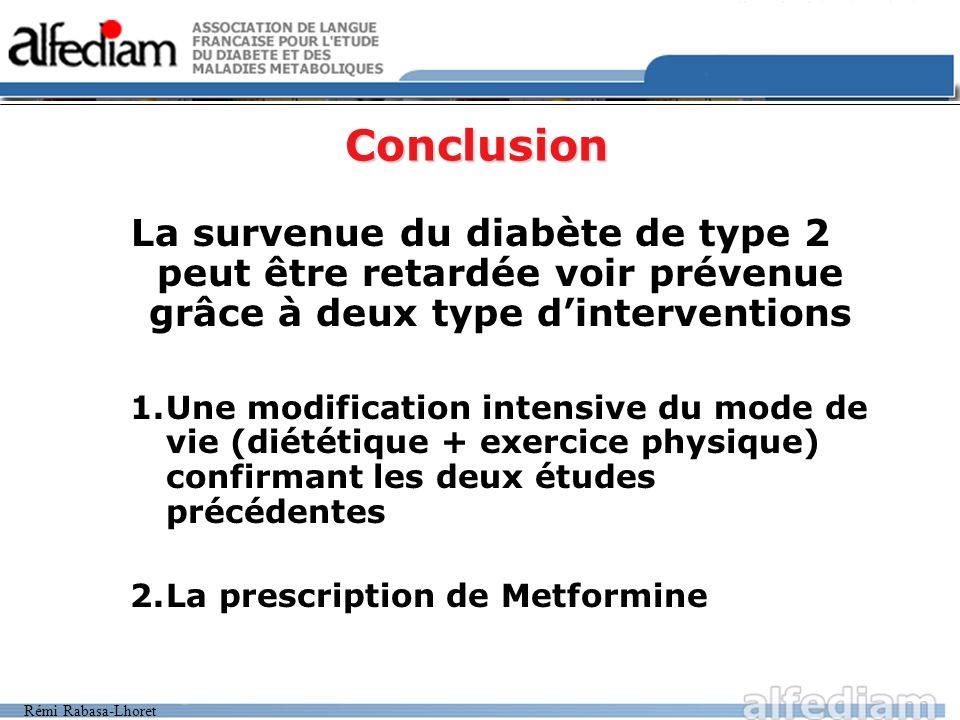 Conclusion La survenue du diabète de type 2 peut être retardée voir prévenue grâce à deux type d'interventions.