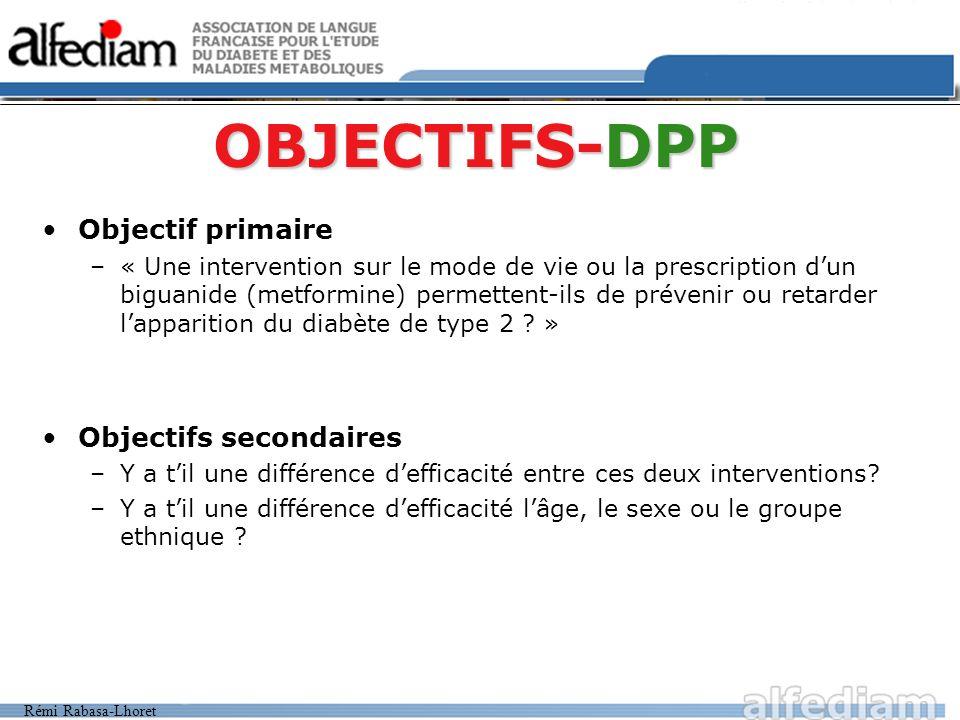 OBJECTIFS-DPP Objectif primaire Objectifs secondaires