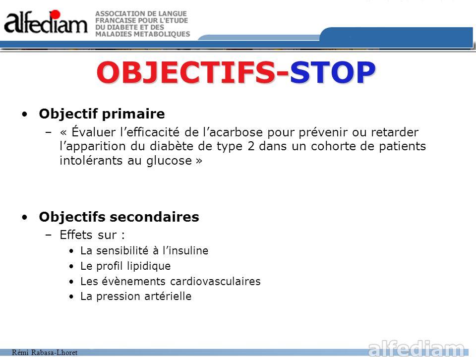OBJECTIFS-STOP Objectif primaire Objectifs secondaires