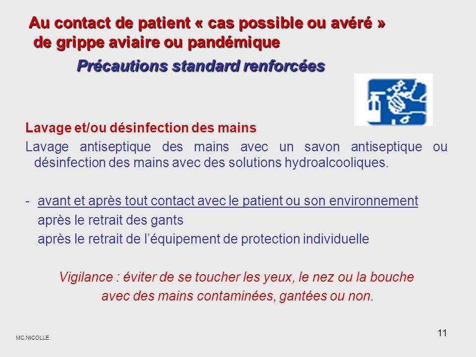 Au contact de patient « cas possible ou avéré » de grippe aviaire ou pandémique Précautions standard renforcées