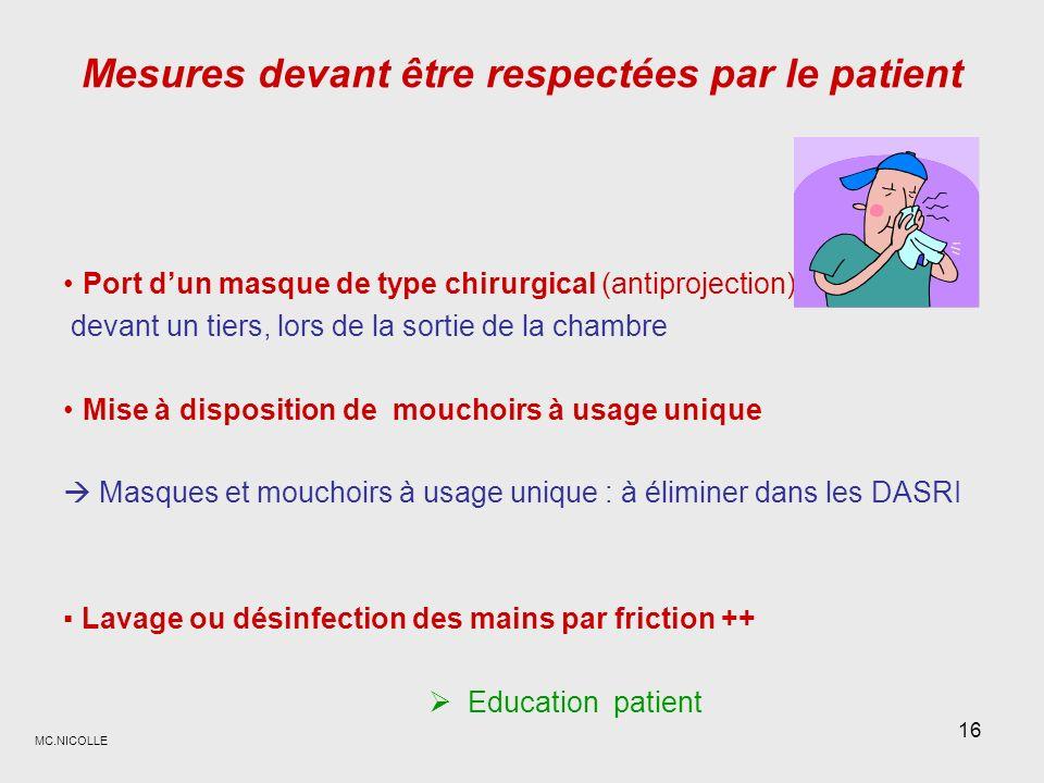 Mesures devant être respectées par le patient
