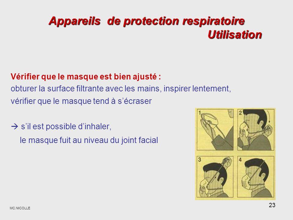 Appareils de protection respiratoire Utilisation