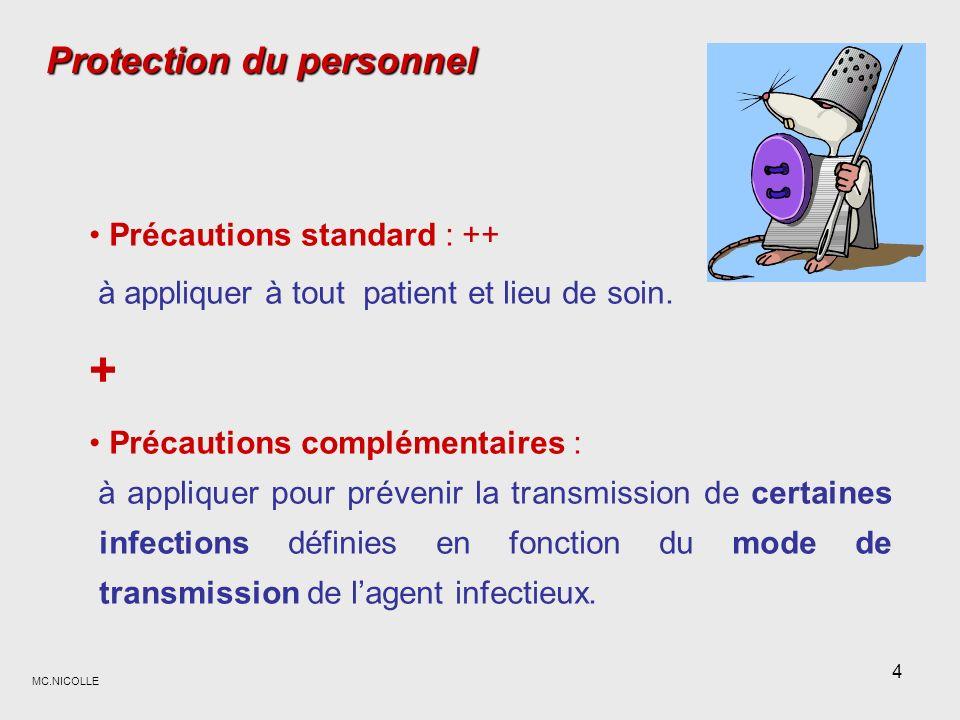 + Protection du personnel Précautions standard : ++