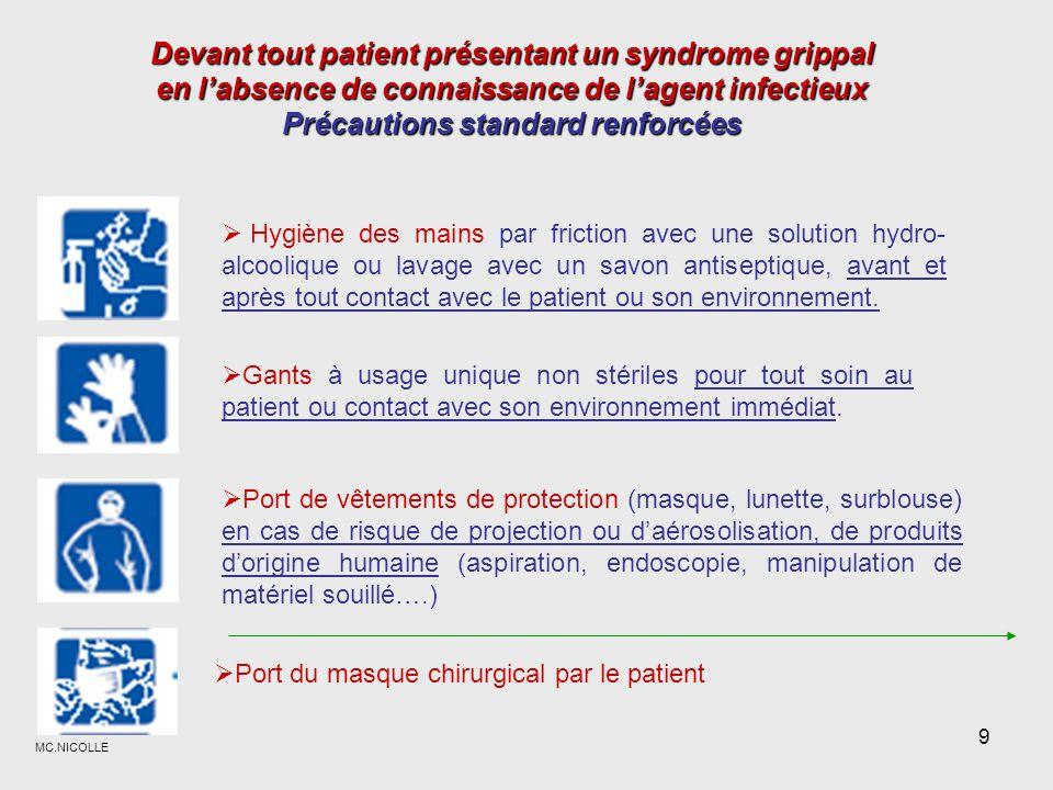 Devant tout patient présentant un syndrome grippal en l'absence de connaissance de l'agent infectieux Précautions standard renforcées