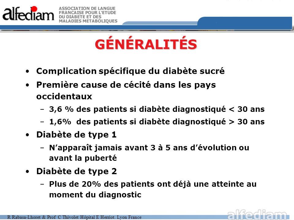 GÉNÉRALITÉS Complication spécifique du diabète sucré